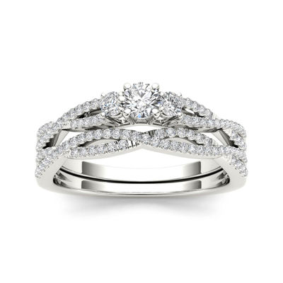 1/2 CT. T.W. Diamond 14K White Gold Crossover Bridal Ring Set