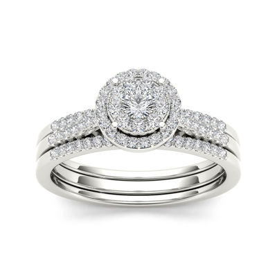 1/2 CT. T.W. Diamond 10K White Gold Halo Bridal Ring Set