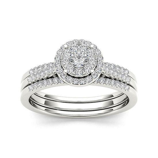 1 2 Ct Tw Diamond 10k White Gold Halo Bridal Ring Set