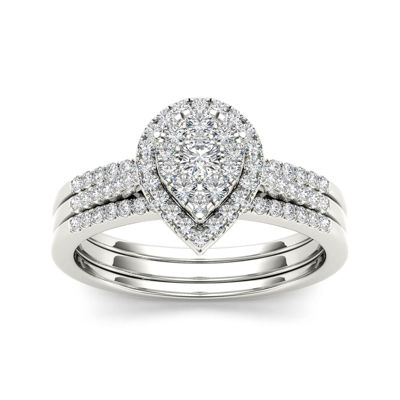 1/2 CT. T.W. Diamond 10K White Gold Bridal Ring Set