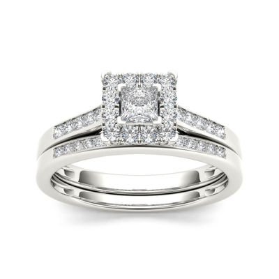 1/2 CT. T.W. Diamond 10K White Gold Bridal Set Ring