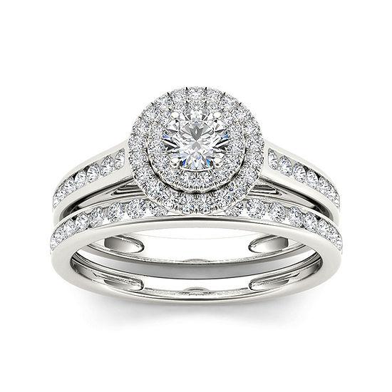 3/4 CT. T.W. Diamond 10K White Gold Bridal Ring Set
