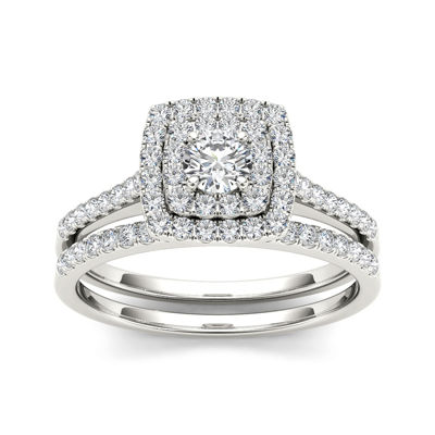 3/4 CT. T.W. Diamond 10K White Gold Bridal Ring Set