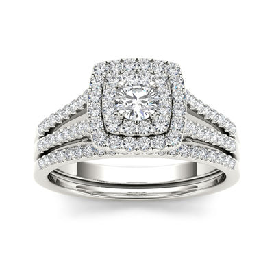 3/4 CT. T.W. Diamond 10K White Gold Bridal Set