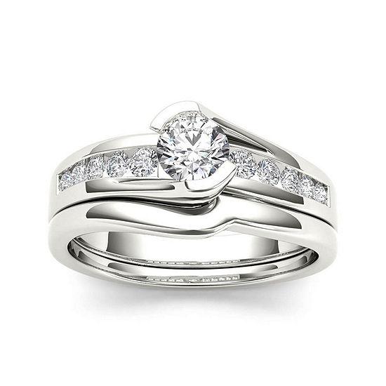 1/2 CT. T.W. Diamond 14K White Gold Bridal Ring Set