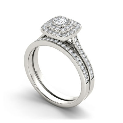 3/4 CT. T.W. Diamond Halo 10K White Gold Bridal Ring Set