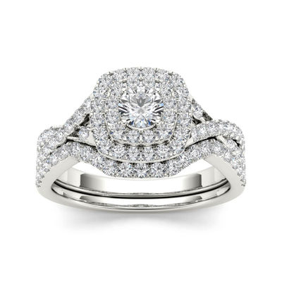 7/8 CT. T.W. Diamond 10K White Gold Bridal Ring Set