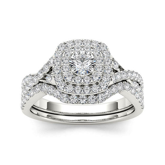 7 8 Ct Tw Diamond 10k White Gold Bridal Ring Set