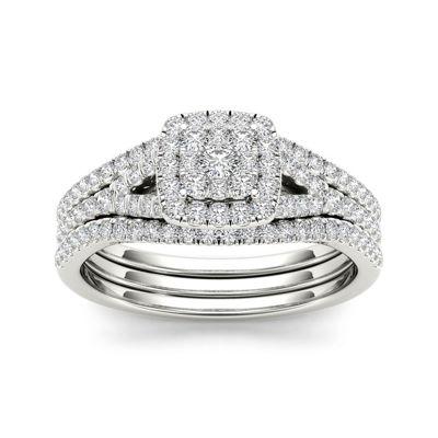3/4 CT. T.W. Diamond Cluster 10K White Gold Bridal Ring Set
