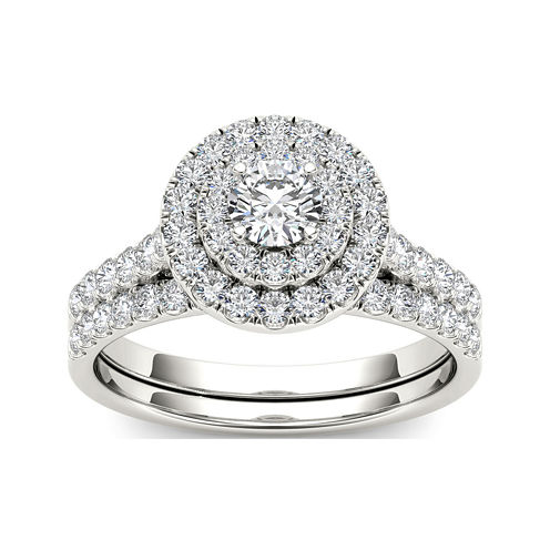 1 CT. T.W. Diamond 10K White Gold Bridal Set Ring