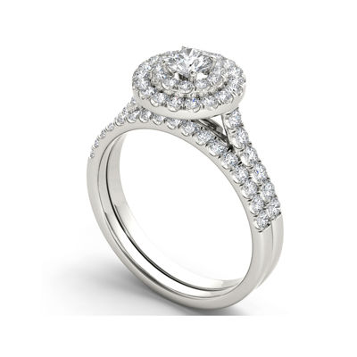 1 CT. T.W. Diamond 10K White Gold Bridal Set Ring