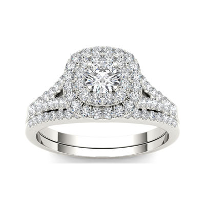 1 CT. T.W. Diamond 10K White Gold Engagement Ring Set
