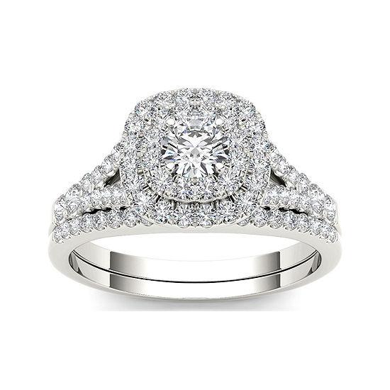 1 CT. T.W. Diamond 10K White Gold Engagement Ring Set