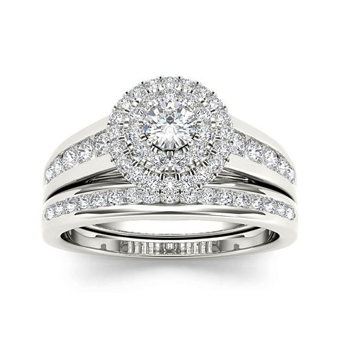 7/8 CT. T.W. Diamond 10K White Gold Bridal Set