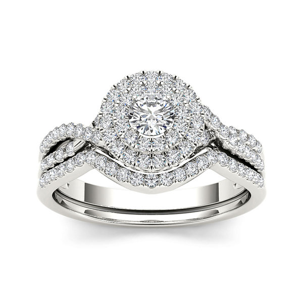 3/4 CT. T.W. Diamond Halo 14K White Gold Bridal Ring Set