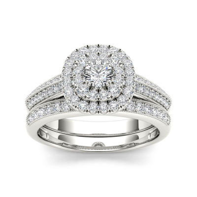 7/8 CT. T.W. Diamond 10K White Gold Halo Bridal Ring Set