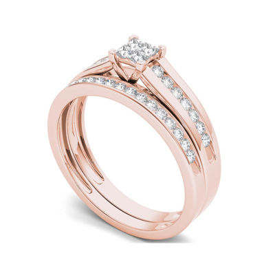 1/2 CT. T.W. Diamond 10K Rose Gold Bridal Set Ring