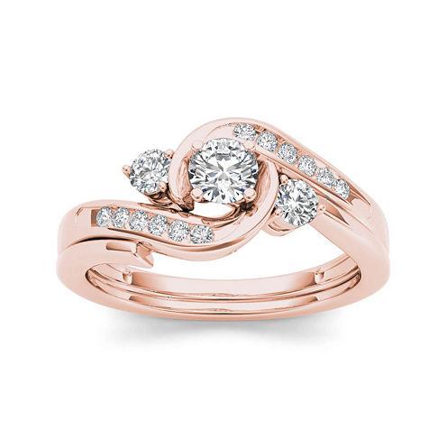 1/2 CT. T.W. Diamond 10K Rose Gold 3-Stone Bypass Ring Set