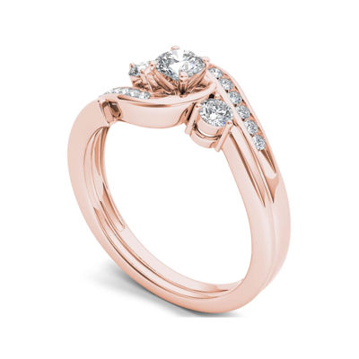 1/2 CT. T.W. Diamond 10K Rose Gold 3-Stone Bypass Ring Set