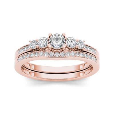 1/2 CT. T.W. Diamond 14K Rose Gold Bridal Ring Set