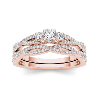 1/2 CT. T.W. Diamond 14K Rose Gold Crossover Bridal Ring Set