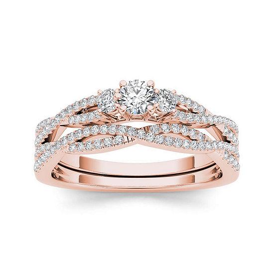 1/2 CT. T.W. Diamond 14K Rose Gold Crossover Bridal Ring Set