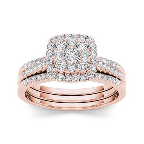 1/2 CT. T.W. Diamond 10K Rose Gold Bridal Set