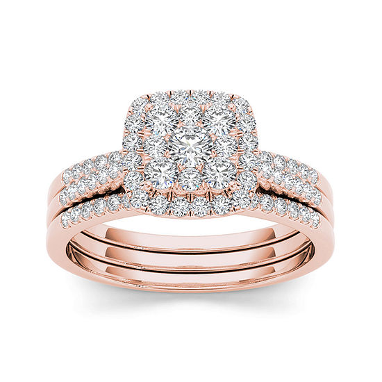 1 2 Ct Tw Diamond 10k Rose Gold Bridal Set