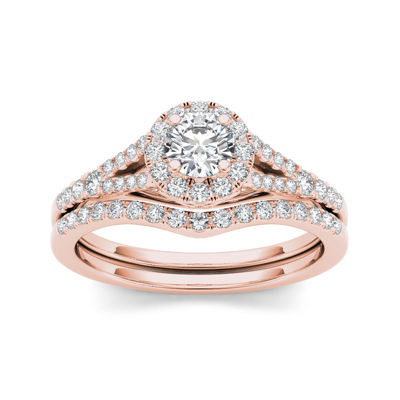 3/4 CT. T.W. Diamond 10K Rose Gold Bridal Set Ring