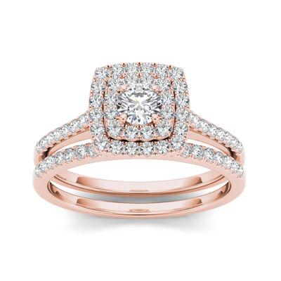 3/4 CT. T.W. Diamond 10K Rose Gold Bridal Ring Set