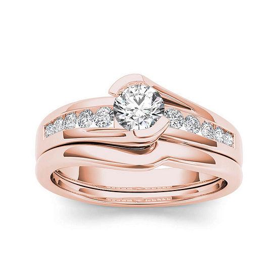 1/2 CT. T.W. Diamond 14K Rose Gold Bridal Ring Set