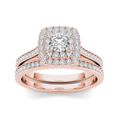 3/4 CT. T.W. Diamond Halo 10K Rose Gold Bridal Ring Set