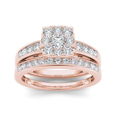 1 CT. T.W. Diamond Cluster 10K Rose Gold Bridal Ring Set