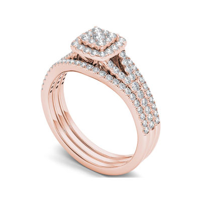3/4 CT. T.W. Diamond Cluster 10K Rose Gold Bridal Ring Set