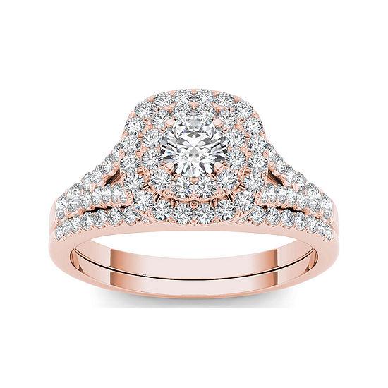 1 CT. T.W. Diamond Halo 10K Rose Gold Engagement Ring Set