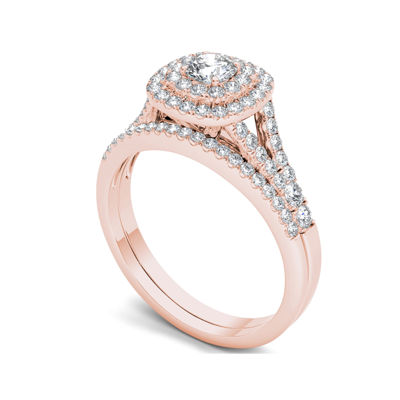 1 CT. T.W. Diamond Halo 10K Rose Gold Engagement Ring Set