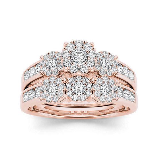 3 4 Ct Tw Diamond 10k Rose Gold Bridal Ring Set