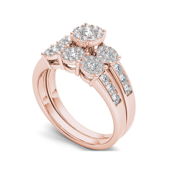 3/4 CT. T.W. Diamond 10K Rose Gold Bridal Ring Set