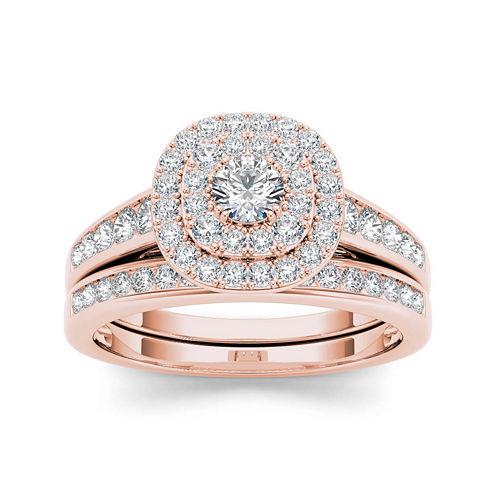 7/8 CT. T.W. Diamond 10K Rose Gold Bridal Ring Set