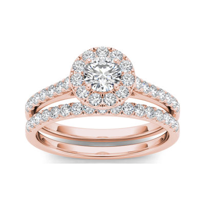 1 CT. T.W. Diamond 10K Rose Gold Bridal Set