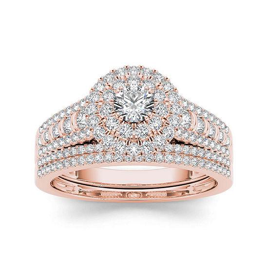 1 Ct Tw Diamond 10k Rose Gold Bridal Set