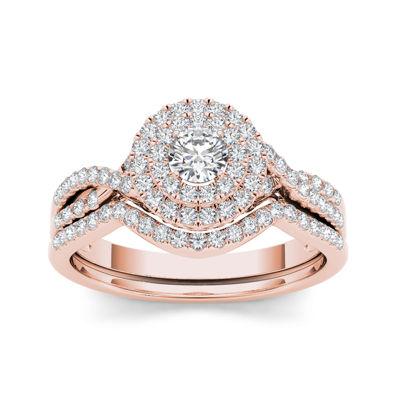 3/4 CT. T.W. Diamond Halo 14K Rose Gold Bridal Ring Set