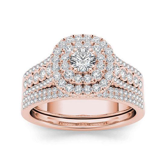 1 CT. T.W. Diamond 10K Rose Gold Bridal Ring Set