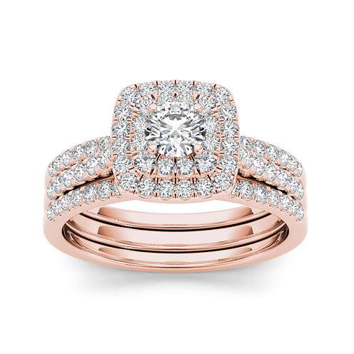 1 CT. T.W. Diamond 10K Rose Gold Halo Bridal Ring Set