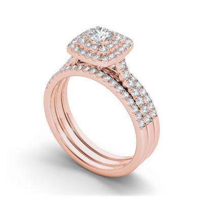 1 CT. T.W. Diamond 10K Rose Gold Halo Bridal Ring Set