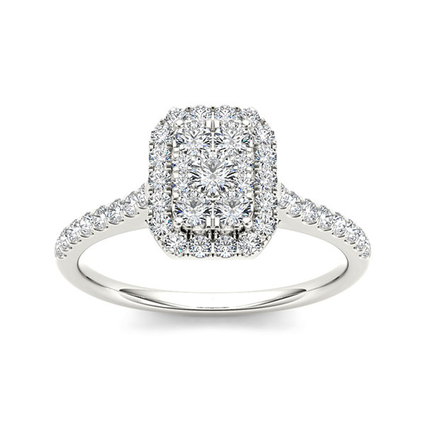 3/4 CT. T.W. Diamond 10K White Gold Square-Shaped Engagement Ring