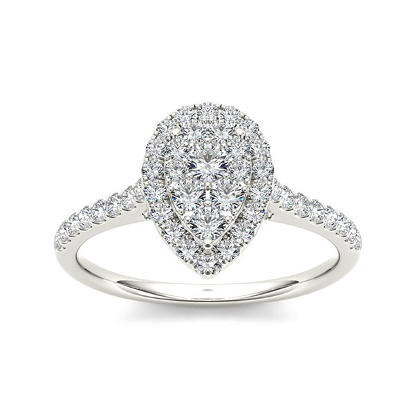 3/4 CT. T.W. Diamond 10K White Gold Pear-Shaped Engagement Ring