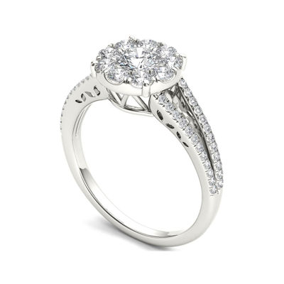 1 CT. T.W. Diamond Cluster 10K White Gold Engagement Ring