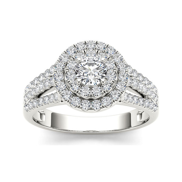 1 CT. T.W. Diamond Halo 10K White Gold Engagement Ring