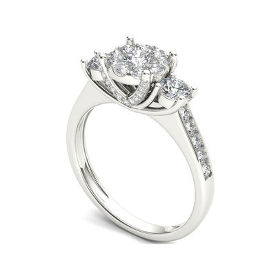 3/8 CT. T.W. Diamond Cluster Swirl Engagement Ring